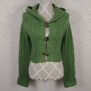Kenzie Hooded Crop Mohair Toggle Button Sweater